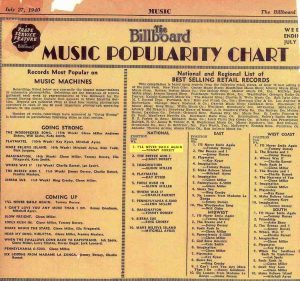 Ruth Lowe, First Billboard Chart, I'll Never Smile Again